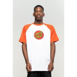 Triko SANTA CRUZ Classic Dot Raglan T-Shirt Flame - Red-White